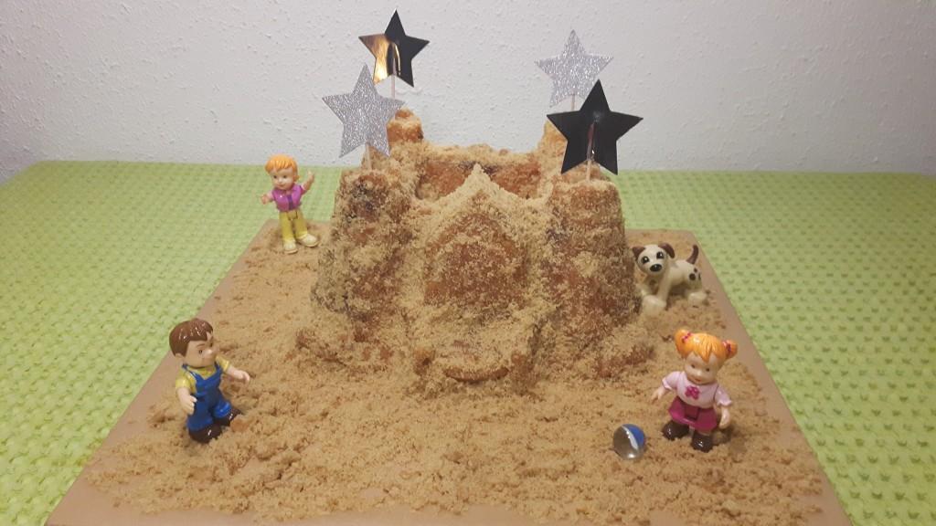 Zandkasteel van tulbandmix en koekjesmix