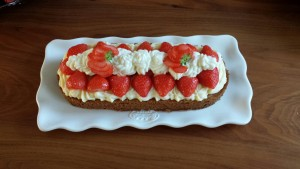 Aardbeienslof met zwitserseroom